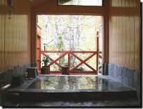 5、6人入れる大きな岩風呂からは紅葉も眺められる。もう一つの家族風呂と併用してご利用下さい。