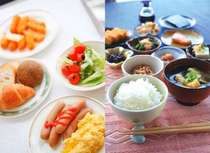 ☆和食派の方、洋食派の方、みなさんお好きなものをどうぞ!バイキング朝食の一例です
