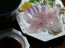 湯くぐり(魚のしゃぶしゃぶ)の一例