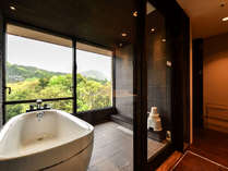 308室/浴室 開放的な浴室で緑を愛でながらの入浴はまさに至福のひと時。