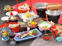 *【お夕食一例】基本のお夕食は名産の千代幻豚のしゃぶしゃぶをメインに旬食材のお料をお楽しみください。