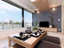 プレミアムジャパニーズアパートメント。全室キッチン付き。お部屋で料理も自炊可能。キッチン用品有