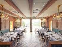 Prince Etoile緑を基調にしたレストランではバターの使用を控えた自然本来の味を活かしたフレンチが特徴