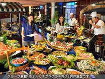 【☆食事☆】グループ旅館「アルメリア」のディナーバイキング!和洋中50種以上お好きなものを食べ放題!