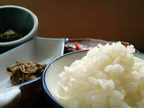 ふっくらとした白いご飯と山菜や川魚など旬のお料理をお召し上がりください。