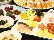 無料軽朝食バイキング!一日の元気は朝食から栄養満点の手作り朝食をご賞味くださいませ。