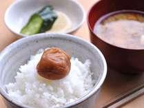 【朝ごはん一例】白いご飯のてっぺんにのってるは、梅の名産地「みなべ」から直接仕入れる南高梅