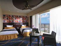 スーペリアツイン シティービュー(36.7平米)客室は海、波、花、太陽など沖縄の自然をモチーフに。