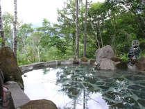 当館自慢の絶景露天風呂。標高1700mの蓼科の森の中で小鳥のBGMを聞きながら癒しのひとときを!