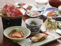 飛騨牛の陶板焼き付き 通常夕食(一例)