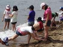 志田浜湖畔で遊ぶ子供達