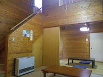 *【コテージのお部屋】木の造りの落ち着いた雰囲気。