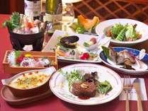 ■夕食一例■和洋折衷のコース。冷たいものは冷たく、温かいものは温かいうちにお出し致します。