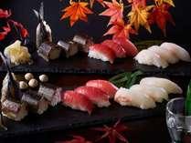 秋の料理フェアーまぐろ・鯛・秋刀魚の握り寿司 ※写真はイメージ
