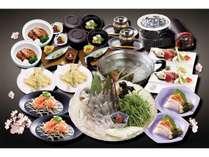 当館お勧め「彩(いろどり)プラン」 活鯛一匹使い、『しゃぶしゃぶと刺身で』仙台名物牛タンを水晶焼で!
