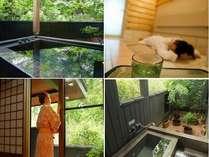 お部屋には、露天風呂そして岩盤浴を備えております。