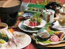 日本海のお魚と選べるメイン♪お腹いっぱいご堪能ください。(写真:鯛のしゃぶしゃぶ)