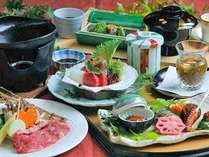 日本海のお魚と選べるメイン♪お客様のニーズにも応えた欲張りな会席料理。(写真:和牛の鉄板焼)