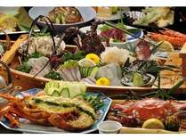 天草西海岸の天然伊勢えび・渡り蟹、アワビと菊池の旬菜使用 海賊プラン一例