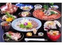 にいがた味の冬場所 夕食の一例 4人前、盛り付けは異なります。