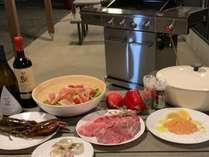 夕食は豪華BBQ A5ランクの増田牛のステーキ!オマールエビのブイヤーベースなどフルコースの食材!