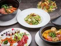 【グループ&ファミリーディナー】こだわりの県産豚・新鮮野菜を使用したコースディナー。