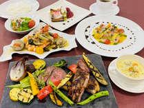 【彩プラン】深川産牛・豚肉のグリエがメインの贅沢な夕食(4名様以上)