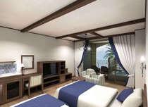 【客室/ツイン】テラスには半身浴も愉しめるビューバス。当館でポピュラーなお部屋タイプ。