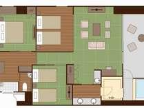 特別和洋室(6名定員)畳リビング+3寝室/92平米【間取り】EVから距離がございます。