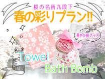 【桜の名所九段下】春を彩る桜の今治タオルと入浴剤付プラン~朝食無料サービス付き~