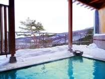 冬の露天風呂福島市街地を目下に真っ白な銀世界♪雪見露天をお楽しみください