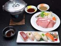 特選料理の1つ『寿司5貫+上川産渓谷味豚』