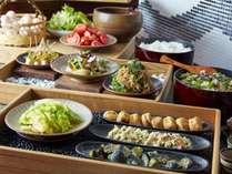 """朝食ブッフェ長野県産の食材をふんだんに使った""""おばんざいブッフェ"""""""