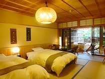 和室でありながらベッドが入ったお部屋。とても現代的な和を感じます(写真は一例)