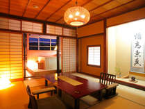 露天風呂付12畳お部屋一例。露天風呂温泉を独り占め。