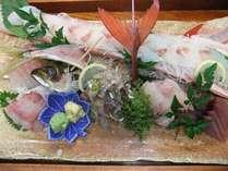 「やがら」入りの刺身盛合せ。やがらは口が長いので、開いて皿の変わりにして盛り付けます。