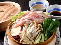 上州麦豚のセイロ蒸しプラン☆夕食メインが上州麦豚にグレードアップ!