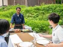 *【夕食:グランピングコース】野外の特設会場でお召し上がりいただきます