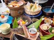 *【夕食:スタンダードコース(一例)】祭畤の地産食材も用いた自然を感じる料理の数々