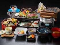 *【夕食:前沢牛コース(一例)】前沢牛のほかにも自然の味覚をお愉しみください