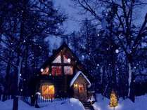 冬のログハウスの一例