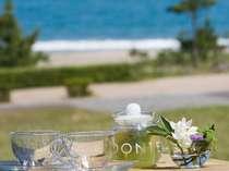 テラスからの景色。芝生で海を眺めながら一日を過ごすこともできますよ*
