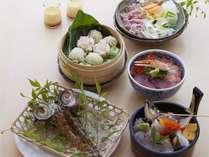 【夕食付き】体験型食事処海鮮市場蒸し釜やコース料理と露天風呂付客室プラン