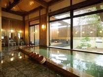 【大浴場・紫陽花】地下300メートルからくみ上げたお肌に優しい軟水を使用しております。