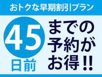 【早期割引45】断然お得な早割プラン!45日前までのご予約がおすすめ!
