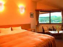 ホテルのように広めに設計された客室(全室バストイレ付)白樺湖と山々を望める眺望も魅力的なお部屋です。