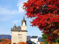 *【秋】周辺の紅葉にお城のような外観がマッチします