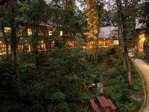 朝霧の窓越しから中庭を望む 池を囲むように6棟の木造建築が点在