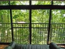 2階建離れの間つばき 2階広縁 さくらの間同様に窓際にソファを用意。中庭を一望できる。