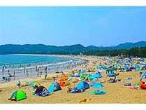当館から一番近い弓ヶ浜ビーチ!波が穏やかなので小さなお子様連れも多いですよ
